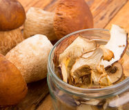 Dried Porcini Mushrooms. On wood table Stock Photography