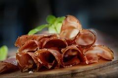 Dried pork collar salami Royalty Free Stock Photos