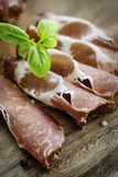 Dried pork collar salami Royalty Free Stock Image