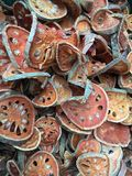 Dried Preserved Quince Slices. Dried, preserved quince slices often used as decorative accents or for craft projects Stock Photo