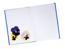 Dried pressed pansy flowers in notebook - memories, summers past Royalty Free Stock Photos