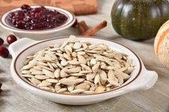 Dried pumpkin seeds stock photo
