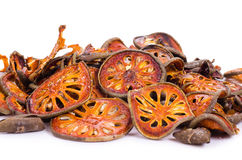 Dried quince slices on a white background.  Stock Photos