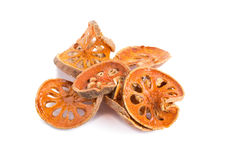 Dried quince slices on a white background.  Stock Image