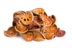 Dried quince slices on a white background.  Stock Images