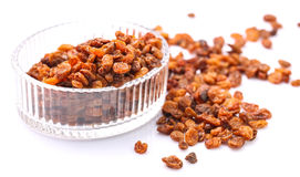 Dried Raisins In Crystal Container I Royalty Free Stock Photography