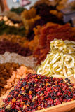 Dried raisins and fruits. On the market Stock Image