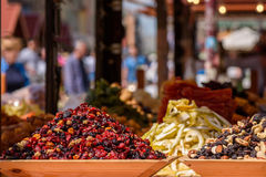 Dried raisins and fruits. On the market Stock Photo