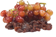 Dried raisins and grape Stock Photography