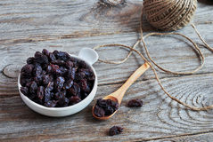 Dried raisins Turkish and Spanish (Malaga). Raisins from Malaga with stones. Stock Photo