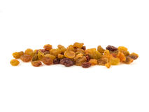 Dried raisins on a white background. Red yellow green Stock Photography