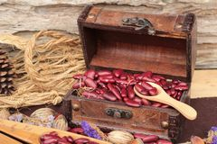 Dried red beans for cooking. Royalty Free Stock Images