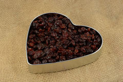 Dried red cherries. In Valentine`s Day heart tin Royalty Free Stock Image