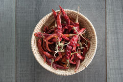 Dried red chili in Basket weave. On wood background Royalty Free Stock Photos