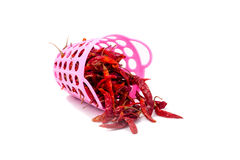 Dried red chili. Dried red chili with basket on white backbround Royalty Free Stock Photography