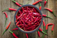 Dried Red chili in bowl on wooden table background Royalty Free Stock Photos