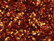 Dried red chili flake food background Stock Photography