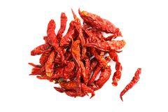 Dried red chili heap, Chilli red Spicy hot flavor, Chilli dry on white background. The Dried red chili heap, Chilli red Spicy hot flavor, Chilli dry on white stock photography