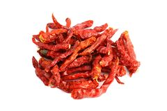 Dried red chili heap, Chilli red Spicy hot flavor, Chilli dry on white background. The Dried red chili heap, Chilli red Spicy hot flavor, Chilli dry on white stock photo