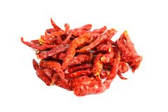 Dried red chili heap, Chilli red Spicy hot flavor, Chilli dry on white background. The Dried red chili heap, Chilli red Spicy hot flavor, Chilli dry on white stock photos