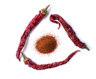 Dried red chili pepper on white background. Desiccated milled paprika. Top view flat lay. royalty free stock image