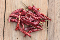 Dried red chili. Pepper on wooden background Royalty Free Stock Photography