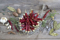 Dried red chili pepper on wooden background Royalty Free Stock Image