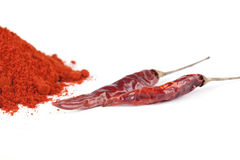 Dried red chili peppers Royalty Free Stock Photos