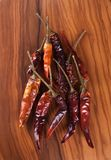Dried red chili peppers Royalty Free Stock Photography
