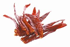 Dried Red Chili Peppers Stock Photo