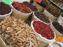 Dried Red Chili Peppers in Baskets for Sale  Royalty Free Stock Photos