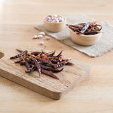 Dried red chili peppers and garlic Royalty Free Stock Photography