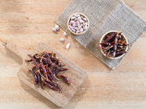 Dried red chili peppers and garlic on wooden board Stock Photography