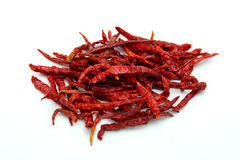 Dried Red Chili Peppers on White Background Royalty Free Stock Images