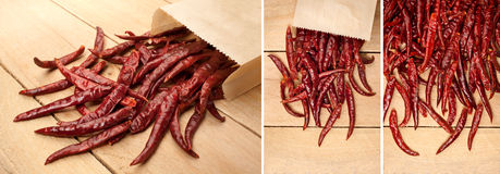 Dried red chili on a wooden background Royalty Free Stock Image