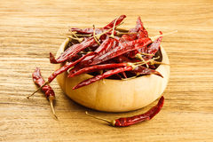 Dried red chili on wooden table Royalty Free Stock Image