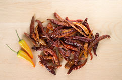 Dried red chili and yellow fresh chili Stock Photos