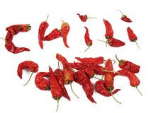 Dried red chilis, some arranged to spell out chili. AN arrangement of dried sweet red chili peppers, some of which spell out the word chili Royalty Free Stock Photo