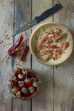 Dried red chilli peppers, flakes and seeds Stock Image
