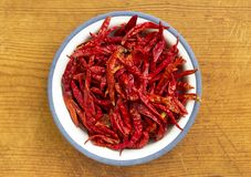 Dried red chillies in plate on wooden background. stock photography