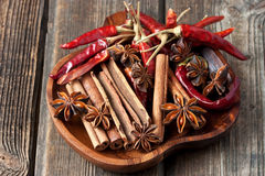 Dried red chilly pepper, cinnamon sticks and anise Royalty Free Stock Photos