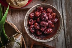 Dried red date or Chinese jujube. Traditional herbal medicine spill