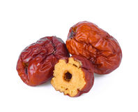 Dried red date or Chinese jujube on white background Stock Images
