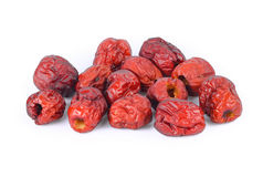 Dried red date or Chinese jujube on white Stock Image