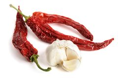 Dried red hot chili pepper with garlic Royalty Free Stock Photography