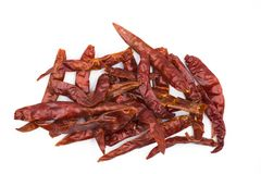 Dried red hot chili pepper isolated on white background. Top view royalty free stock image
