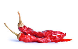 Dried red hot chili peppers Stock Photo