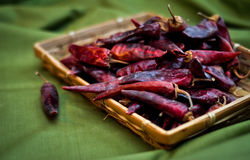 Dried red hot chili peppers are lying in a heap, glitering with different shades of red. Dried red peppers are lying in a heap, glitering with different shades Royalty Free Stock Image
