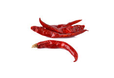 Dried red hot chili peppers on white Stock Image