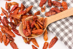 Dried red hot chili peppers Stock Photography